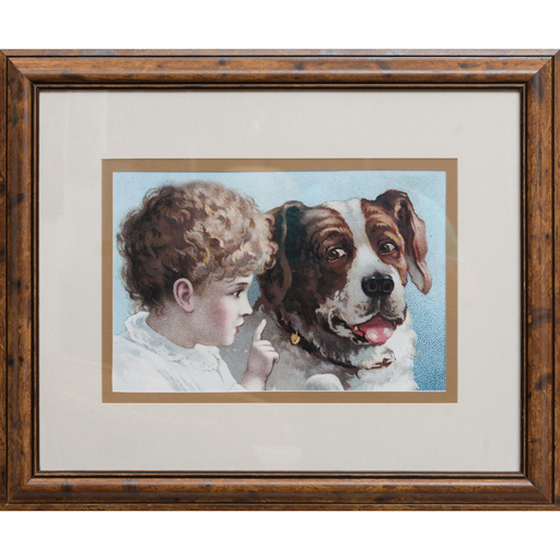 Quadro Infantil Criança e Cachorro