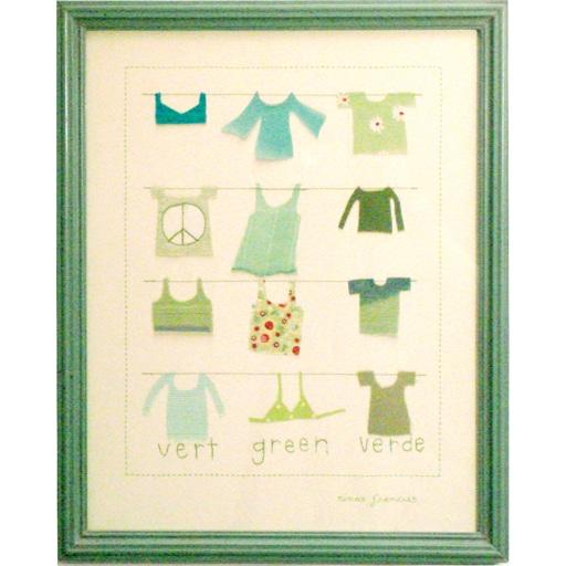 Quadro Infantil Roupinhas Verdes