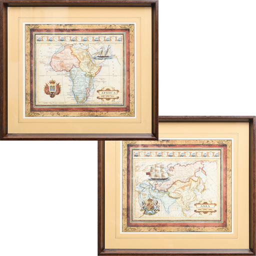 Set de 2 Quadros Gravura Mapas