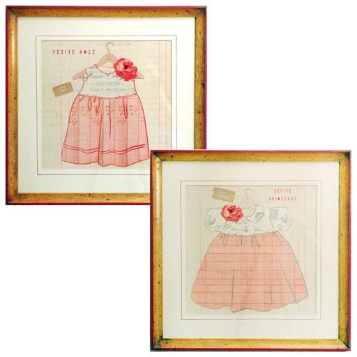 Set de 2 Quadros My Little Dress 1 e 3
