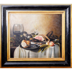 Tela Natureza Morta Presunto e Vinho